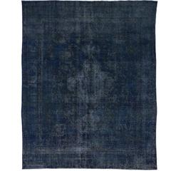 Vintage Persian Tabriz Rug Overdyed in Blue with Modern Industrial Style