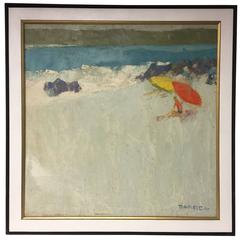 Vintage 1970 Oil on Canvas Beach Scene by NYC Artist George Barrel, Italo Botti