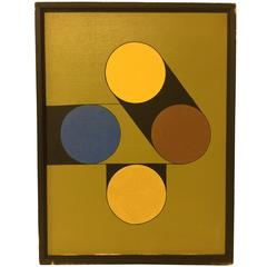 Vintage circa 1980s Hard Edge Geometric Abstract Oil on Canvas Painting 1 of 5