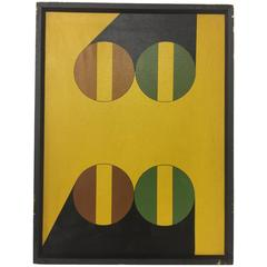 Vintage circa 1980s Hard Edge Geometric Abstract Oil on Canvas Painting 5 of 5