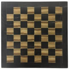 Diminutive Vintage Agate Chess or Checkers Board in Black and Gold, Pieced Side