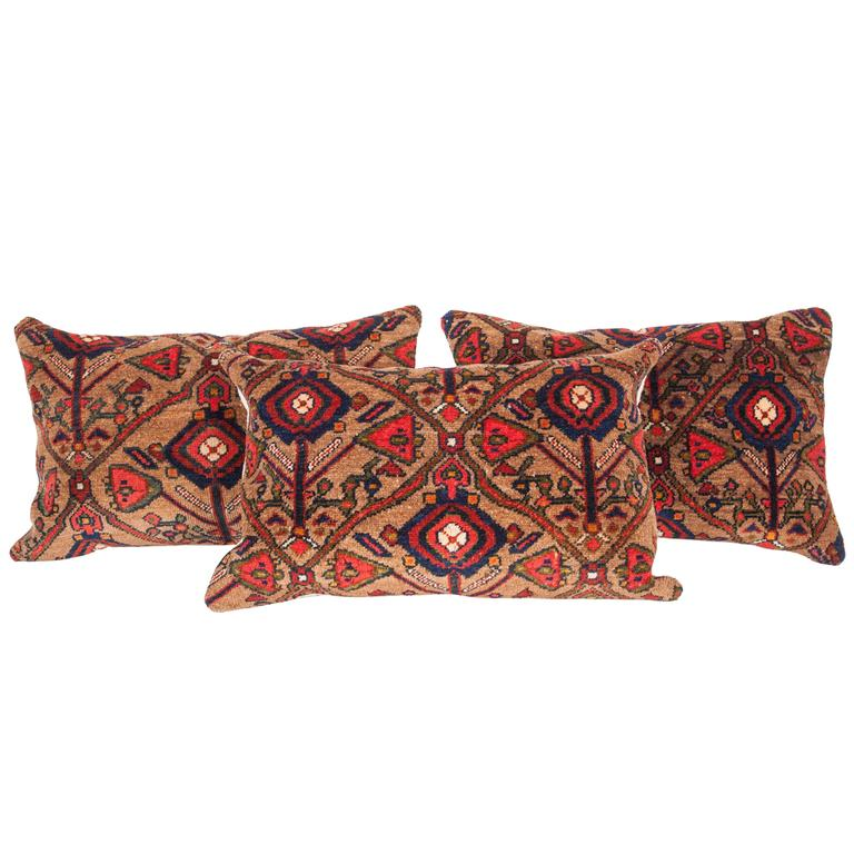 Antique Rug Pillows, Late 19th Century, North Persian Rug