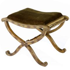 Regency Painted and Upholstered X-Frame Stool