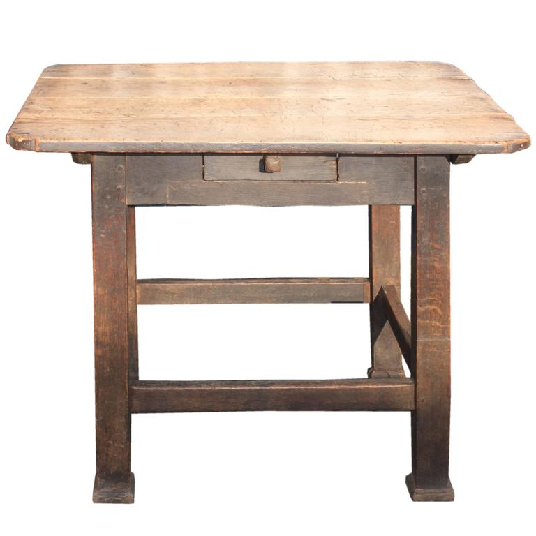 Primitive Fruitwood and Oak Table