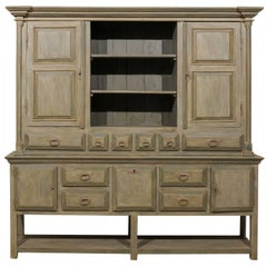 Large Brazilian Painted Wood Cabinet with Great Storage and Display Shelves