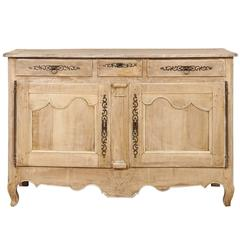 French Natural Pale Wood Sideboard with Dark Iron Hardware and Scalloped Skirt