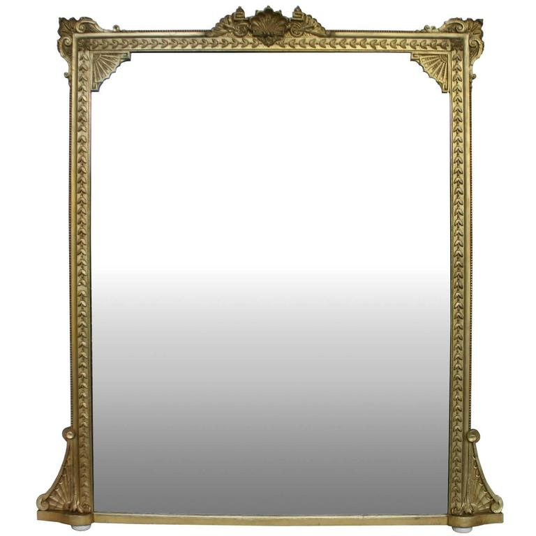 Large 19th Century Giltwood Overmantel Mirror