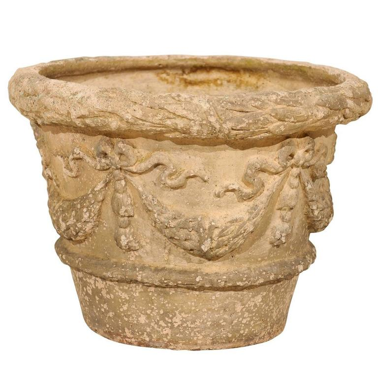 French Terracotta Aged Garden Pot with Bow and Swag Motif in Beige Cream Color For Sale