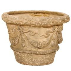 French Terracotta Aged Garden Pot with Bow and Swag Motif in Beige Cream Color