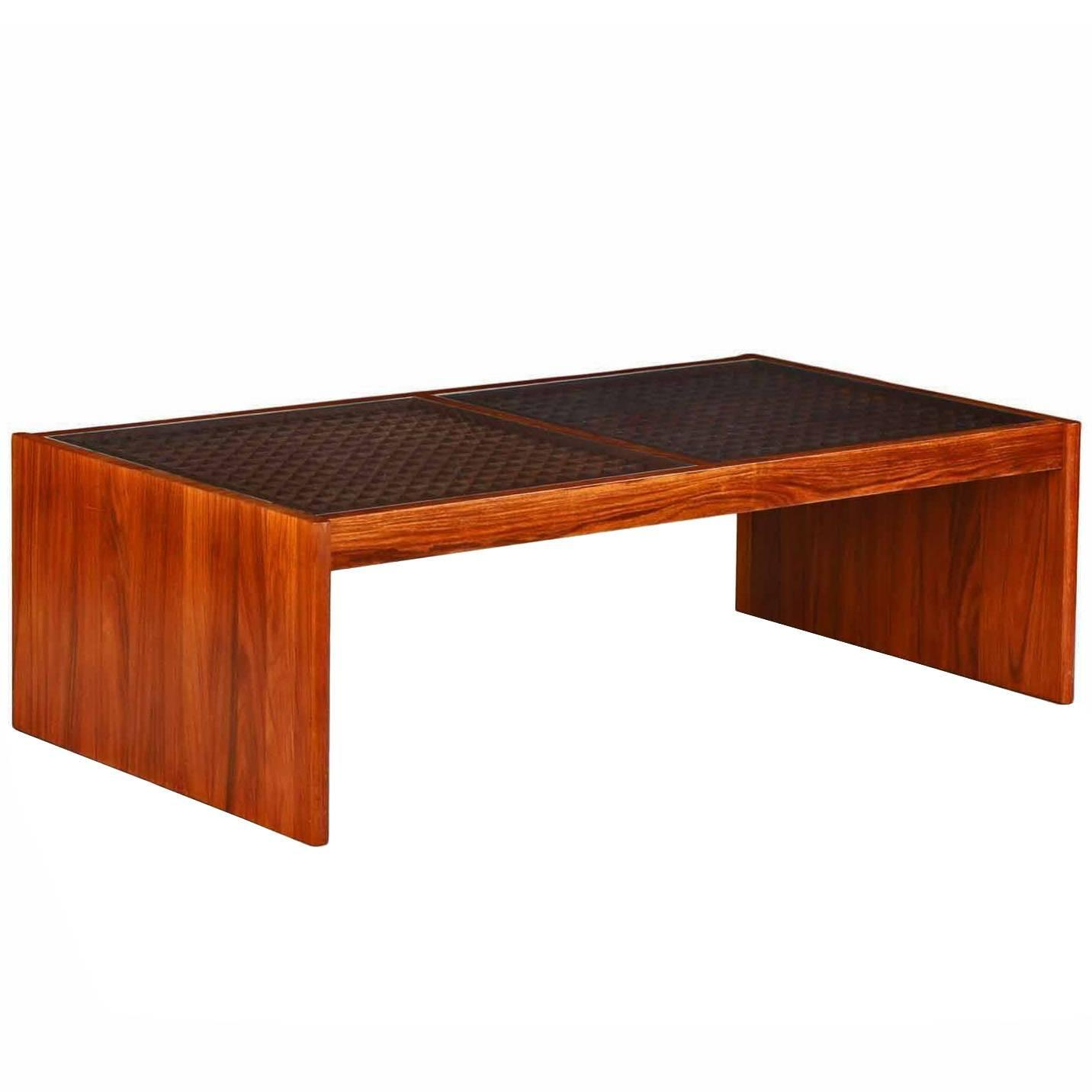 Danish Mid Century Modern Rosewood Latticework Coffee Table by