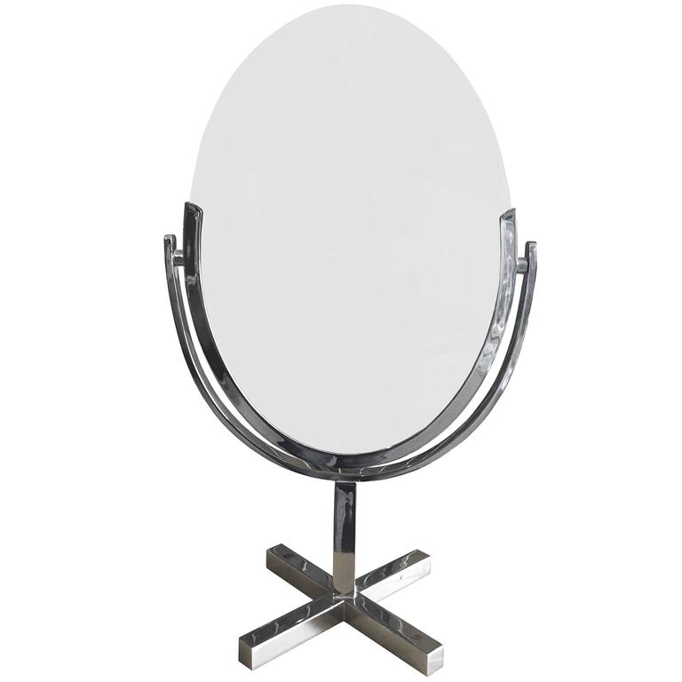 Charles Hollis Jones X-Base Vanity Mirror in Chrome