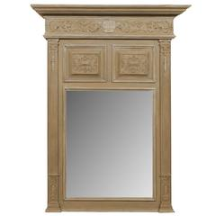 French Light Brown / Taupe Trumeau Mirror with Beveled Glass and Rich Carvings