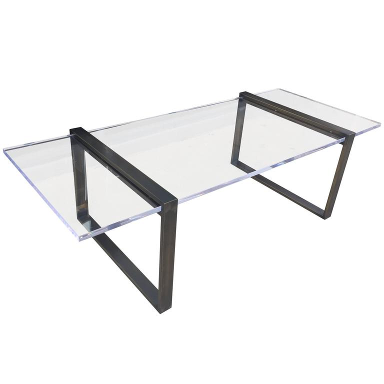 "Charles Hollis Jones ""Box"" Coffee Table in Bronze and Lucite"