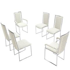 New Upholstery Six Mid-Century Modern Chrome Dining Chairs