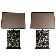 Pair of Table Lamps in Black Resin Inlay Marcassite by Stan Usel