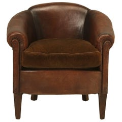 French Leather Barrelback Chair