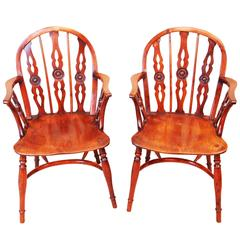 Antique Pair Of Yewood Draught Back Windsor Chairs