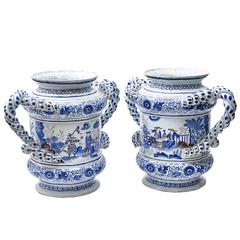 Pair of Delft Chinoiserie Blue and White Planters, circa 1880
