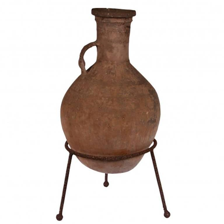 Antique Italian Terracotta Olive Oil Jar in Wrought Iron Stand