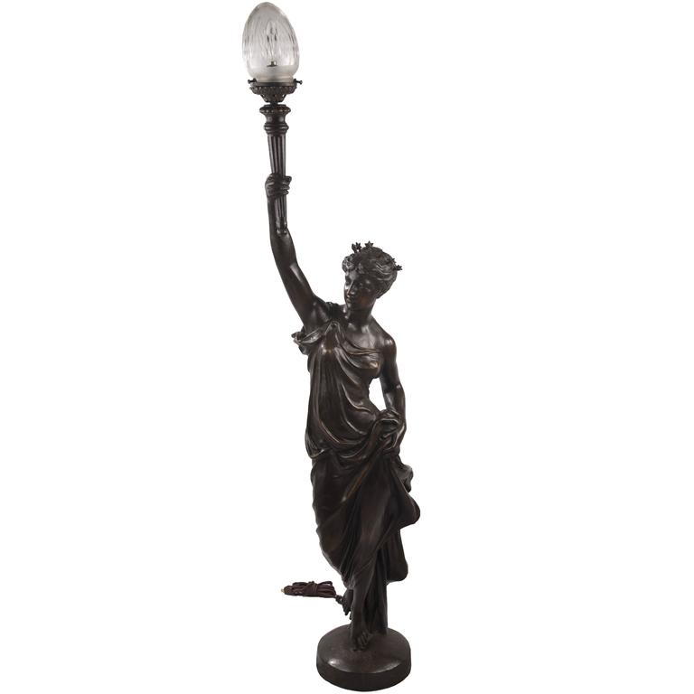 art deco figurative floor lamp of lady liberty for sale at With art deco lady floor lamp