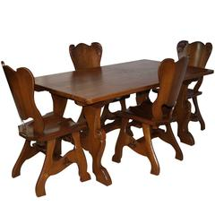 Solid Oak Dining Table and Four Chairs, circa 1950