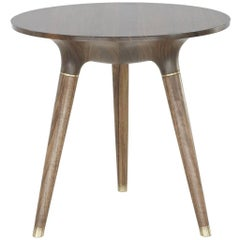 Contemporary Side, End or Occasional Table in Carved Walnut with Brass accents