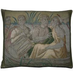 Antique Brussels Baroque Tapestry Pillow, circa 17th Century