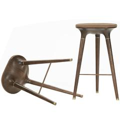Contemporary Stool in Carved Walnut, Brass and Leather