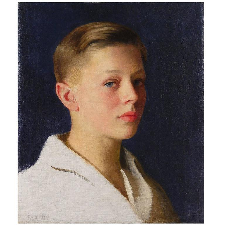 """""""Boy with Blue Eyes,"""" Portrait Masterpiece by William Paxton, 1920s For Sale"""