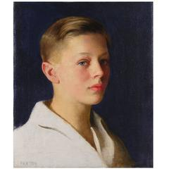 """Boy with Blue Eyes,"" Portrait Masterpiece by William Paxton, 1920s"