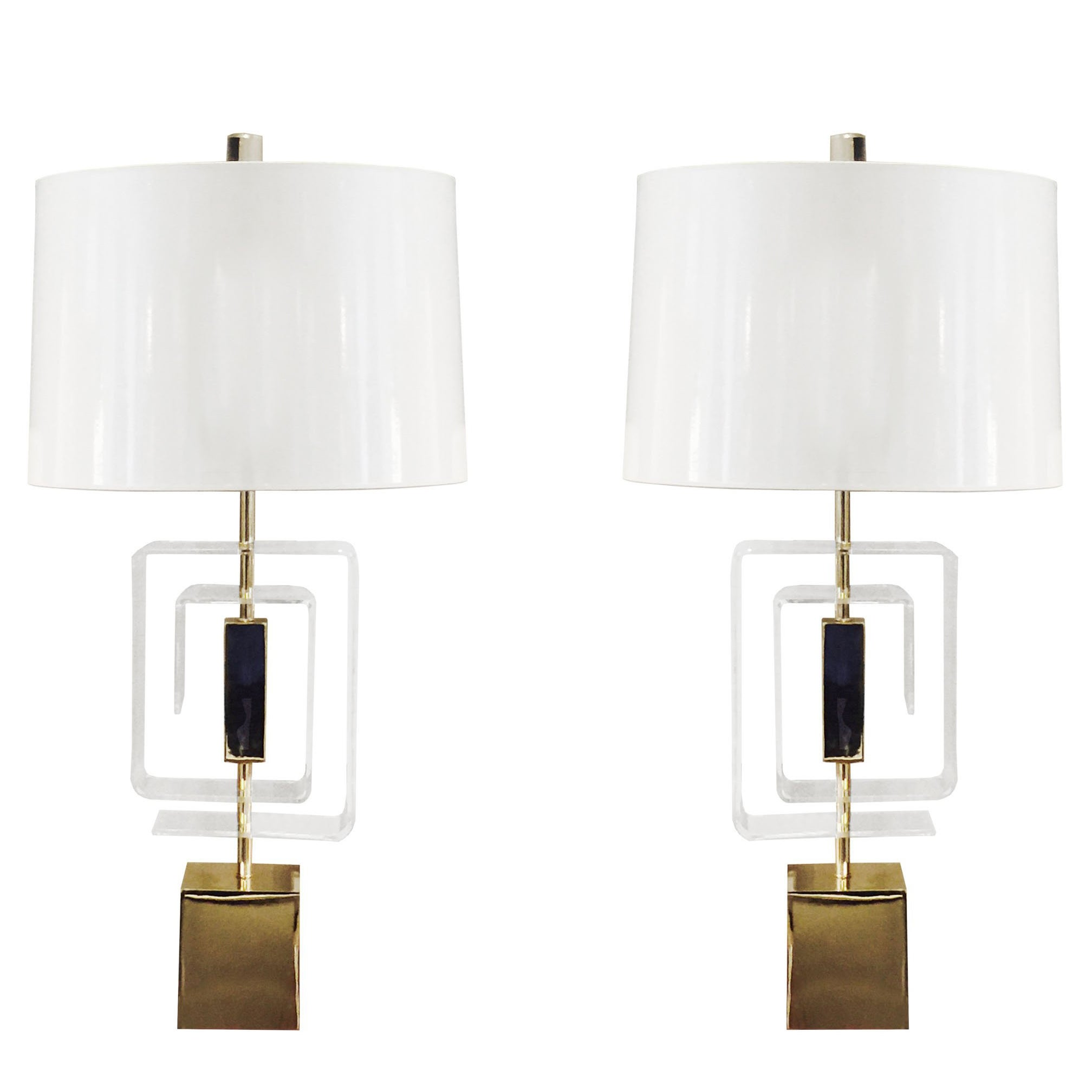 Pair of Lucite and Brass Lamps by Laurel Lamp Company