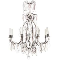 French 19th Century Eight-Light Chandelier with Amethyst Crystals