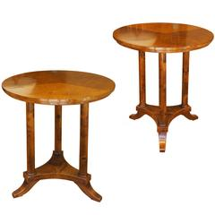 Pair of Round Modern Classicism Side Tables in Birch, Axel Einar Hjorth