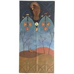 Sacred Landscape on Reclaimed Tin Panel