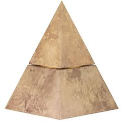 Mid-Century Sculptural Pyramidal Aldo Tura Lacquered Parchment Ice Bucke