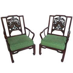 Pair of Early 20th Century Chinese Rosewood Armchairs