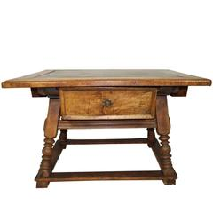 German Walnut Kitchen Table, circa 1850