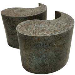 Pair of Etched Bronze Comma Form Side Tables