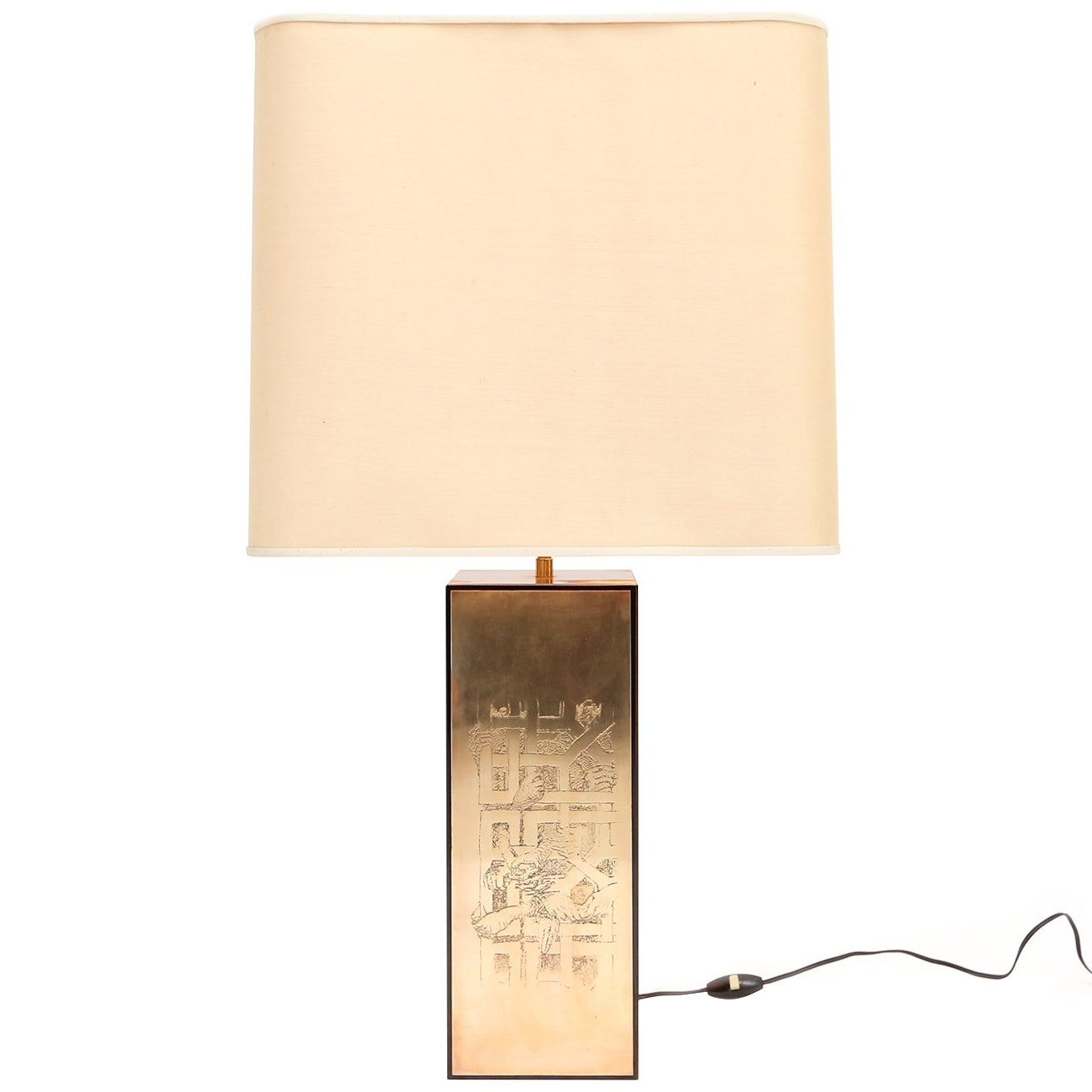 Brass Etched Table Lamp, Belgium 1970s