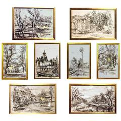Set of Eight Travel Drawings by G. Piccard