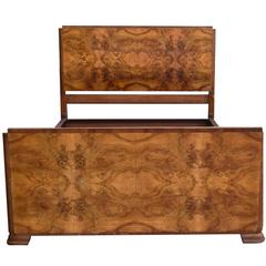 1930s Art Deco Walnut Double Bed