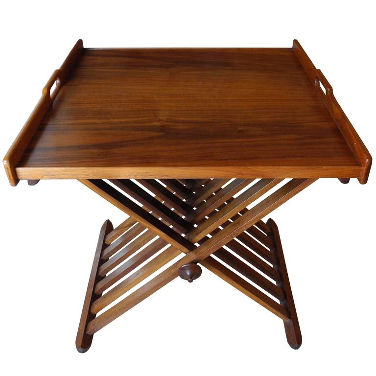 Campaign Tray Table by Stewart McDougall for Drexel in Walnut