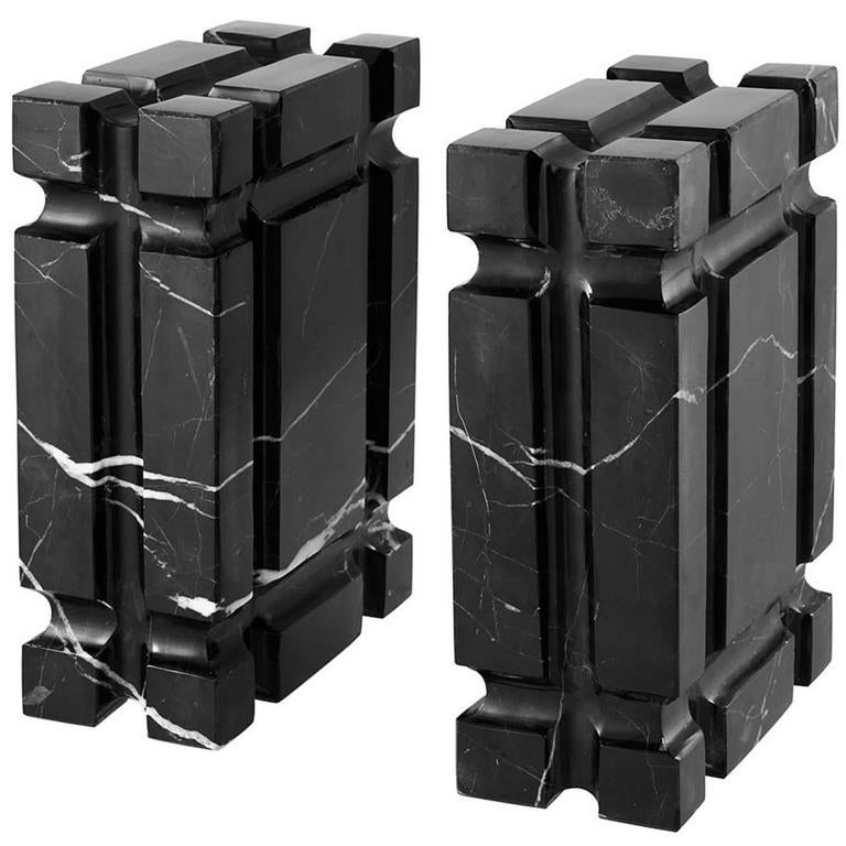 Blocks Marble Auction : Blocks marble bookends set of two in black for sale