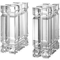 Blocks Crystal Bookends Set of Two in Crystal Glass