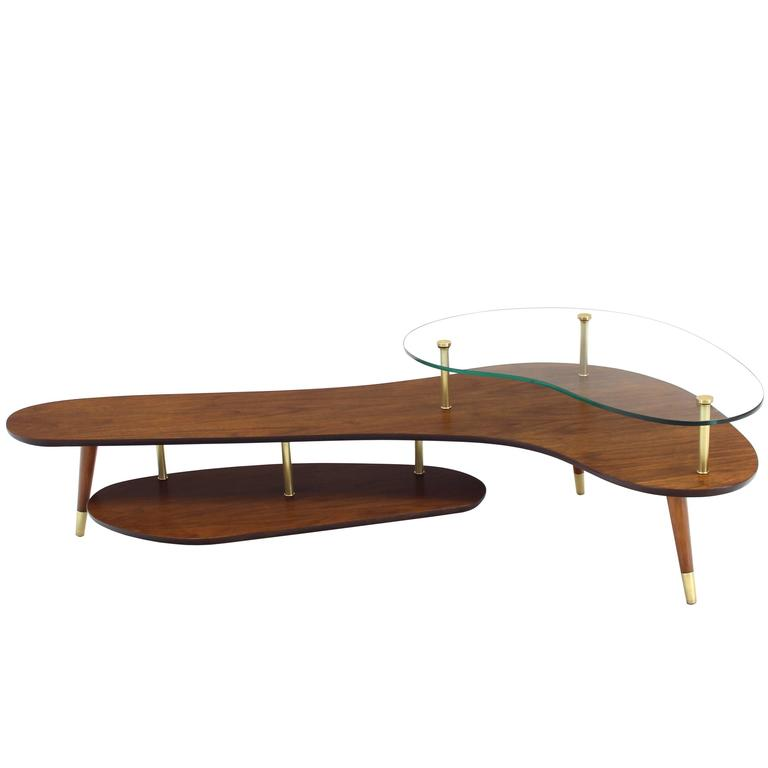 Boomerang Shape Coffee Table With Glass Top At 1stdibs
