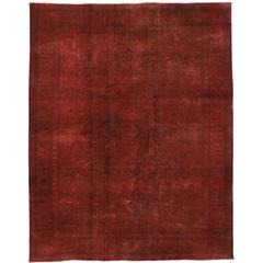 Distressed Overdyed Red Persian Area Rug with Luxe Industrial Style
