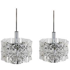 Pair of Kinkeldey Geometric Modern Crystal Fixtures, Germany, Early 1970