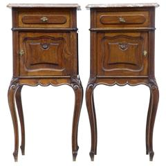 Pair of 19th Century French Oak Marble-Top Nightstands