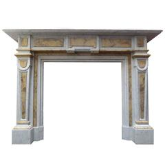 19th Century Victorian Carrara Marble  Chimneypiece with Sienna Inlay Panels