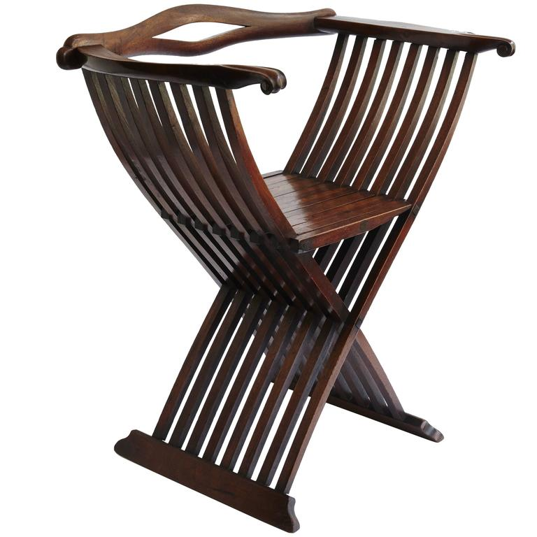 18th Century Italian Walnut Folding Chair 1